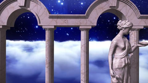 Ancient greek temple in space with sculpture Animation