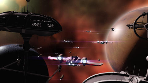 Armada space fleet flying to planets Animation
