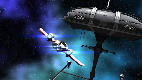 Animation of a futuristic space ship and warriors Animation
