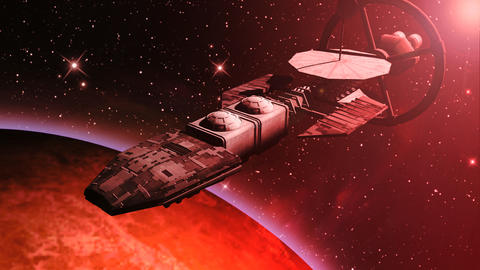 Animation of a futuristic spaceship flying over a red planet Animation