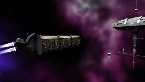 Futuristic animation of cargo moving to a space ship Stock Video Footage