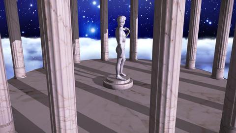 Greek temple in cosmic scene with David Animation