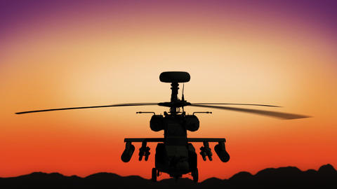 Apache helicopter in the sky during sundown Animation