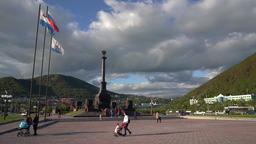 Stela City of Military Glory on City Petropavlovsk Kamchatsky. Time lapse GIF