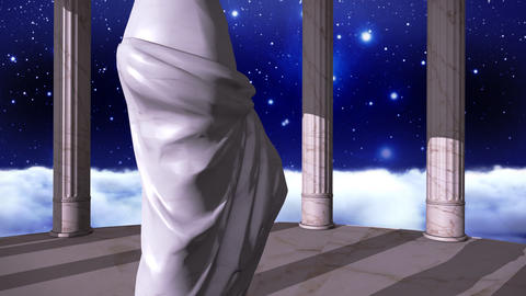Ancient greek temple in a space scene with a sculpture Animation