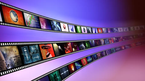 Loop-able animation of film reels with a blue background Animation
