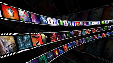 Loop-able animation of film reels with a dark background Animation