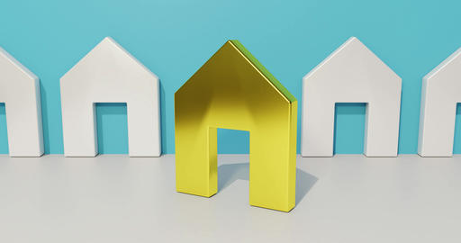 Real estate broker concept. A golden house in focus. Symbol of planning to buy a Animation