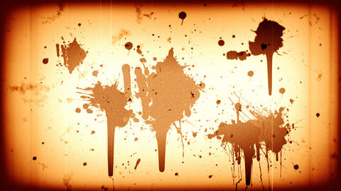 Blood splatter on old sepia film reel Animation