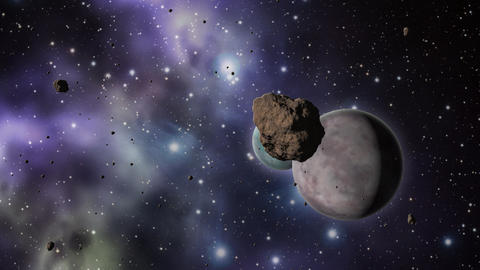 Asteroid field with planets and stars Animation
