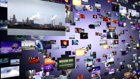 Flight through animated video wall Animation
