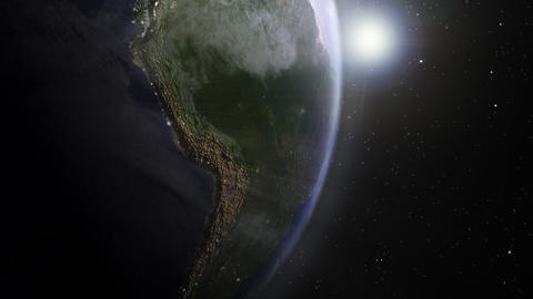 Earth sunrise South America Animation