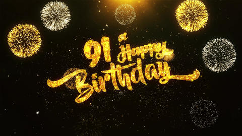 91st Happy Birthday Text Greeting, Wishes, Celebration, invitation Background Footage