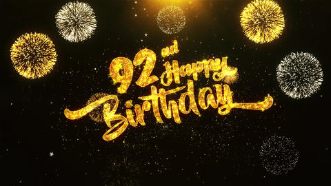 92nd Happy Birthday Text Greeting, Wishes, Celebration, invitation Background Footage
