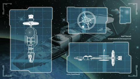 Futuristic blueprint of a spaceship Live Action