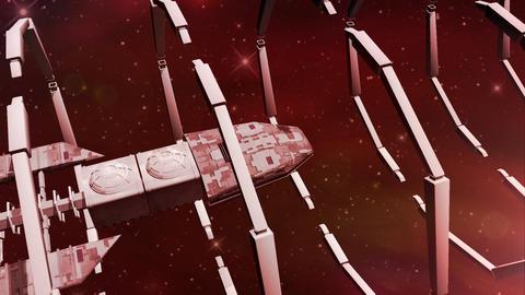 Animation of a futuristic spaceship entering a gateway Animation