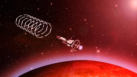 Futuristic spaceship entering gateway Animation