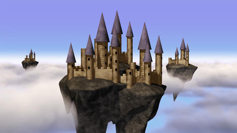Sky-castle hovering above clouds Animation