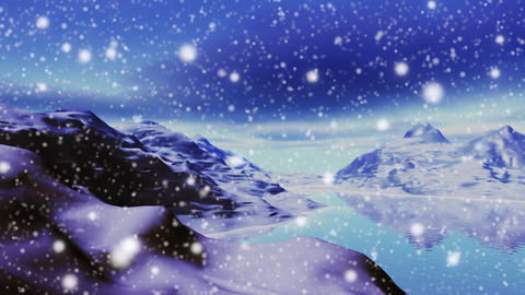Snowing in landscape of mountains and lake Animation
