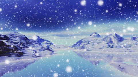 Snowing in landscape of mountains and lake Stock Video Footage