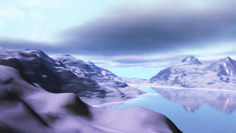 Landscape with snow mountains and lake Animation