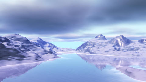 Landscape with snow mountains and lake Stock Video Footage