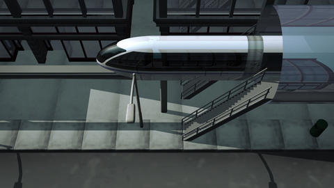 Monorail traveling through city high angle Animation