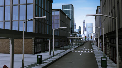 Monorail traveling through city Animation