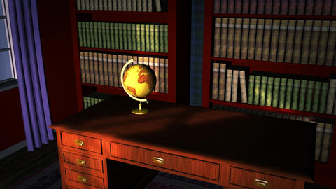 Classic library with old globe Animation