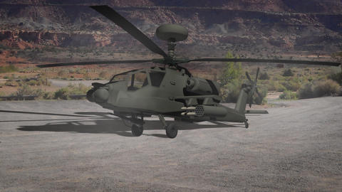 Apache helicopter take off Animation