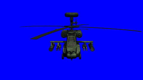 Apache helicopter with bluescreen Animation