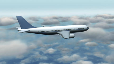 Airplane flying through clouds Animation