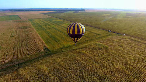 Air balloon floating over fields, landing of championship contestant, winner Live Action