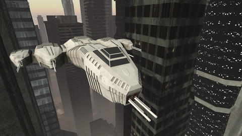 Spaceship flying through a future city Animation