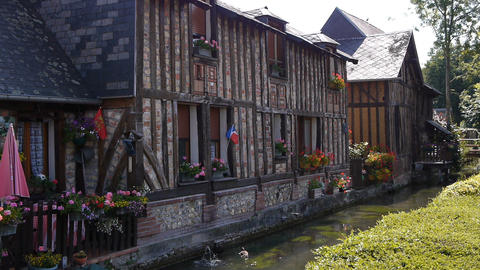 CORMEILLES, FRANCE - JULY 15, 2018: Half timbered houses in Cormeilles, Normandy Live Action