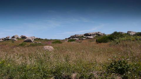 Ploumanach. Red granite rocks. Bretagne France Footage