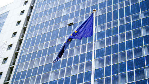 4k video of fluttering flag of European Union with yellow stars on blue Live Action