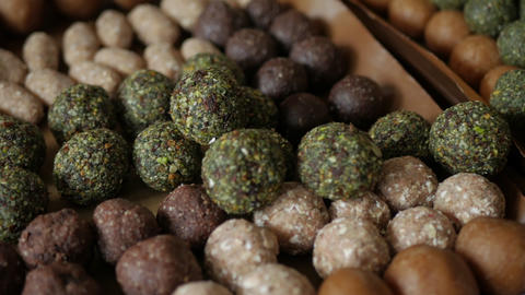Healthy snack Organic Dates oatmeal energy balls Footage