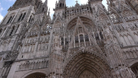 Cathedral front exterior in Rouen, Normandy France, PAN Footage
