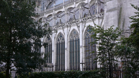 Cathedral of Rouen side exterior, Normandy France Footage