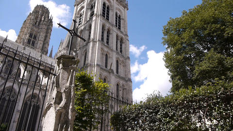 Cathedral side exterior in Rouen, Normandy France, PAN Footage