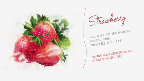 Strawberry animated video slide Animation