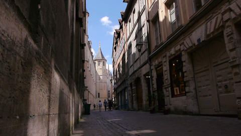 Street with tower in Rouen, Normandy France Live Action