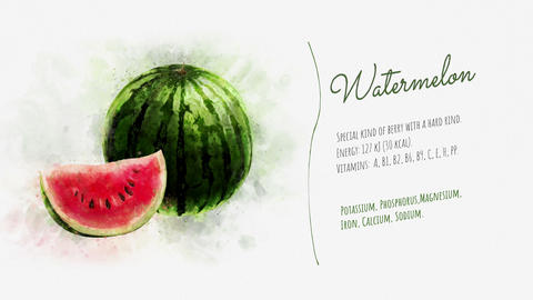 Animated information about the Watermelon Stock Video Footage