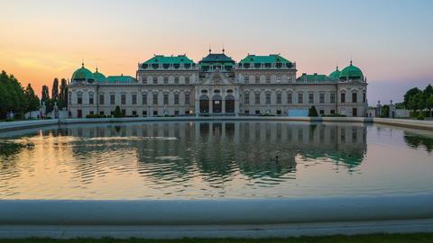 Timelapse video of Belvedere Museum garden at sunset in Vienna city, Austria Footage