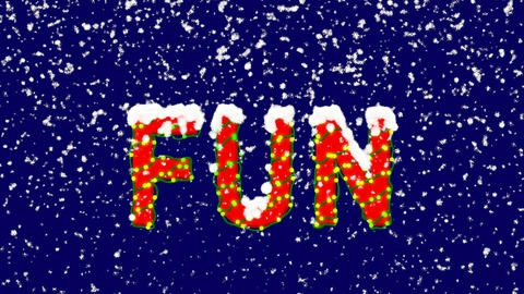New Year text text FUN. Snow falls. Christmas mood, looped video. Alpha channel Animation