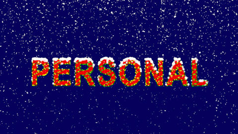 New Year text text PERSONAL. Snow falls. Christmas mood, looped video. Alpha Animation