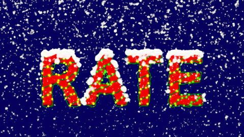 New Year text text RATE. Snow falls. Christmas mood, looped video. Alpha channel Animation