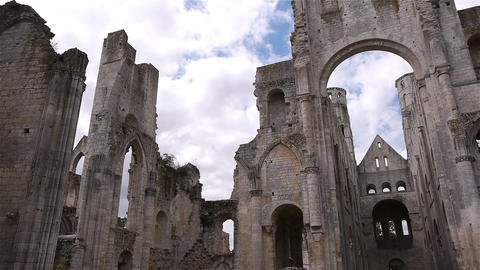 Ruined exterior of abbey of Jumieges, Normandy France, PAN Live Action