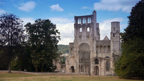 Ruined exterior of abbey of Jumieges, Normandy France Footage